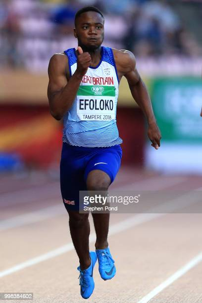 Jona Efoloko of Great Britain in action during the final of the men's 200m on day four of The IAAF World U20 Championships on July 13 2018 in Tampere...