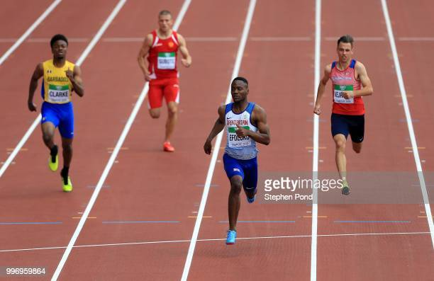 Jona Efoloko of Great Britain leads his heat of the Men's 200m on day three of The IAAF World U20 Championships on July 12 2018 in Tampere Finland