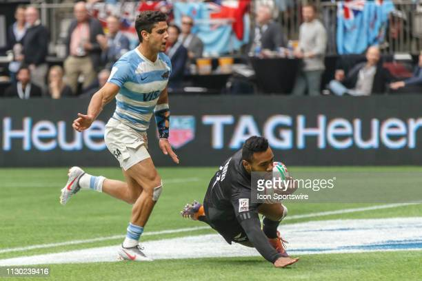 Jona Nareki of New Zealand scores during Game Argentina 7s vs New Zealand 7s in 5th Place SF1 matchup at the Canada Sevens held on March 10 at BC...