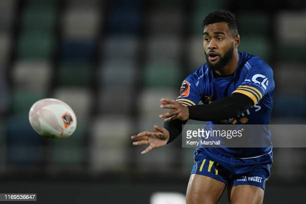 Jona Nareki of Otago passes during the round three Mitre 10 Cup match between Hawke's Bay and Otago at McLean Park on August 22, 2019 in Napier, New...