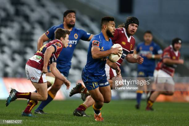 Jona Nareki of Otago runs the ball during the round 2 Mitre 10 Cup match between Otago and Southland at Forsyth Barr Stadium on August 17, 2019 in...