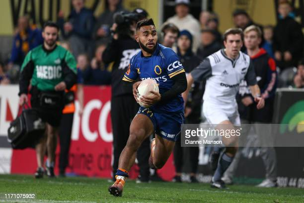 Jona Nareki of Otago runs the ball during the round 4 Mitre 10 Cup match between Otago and Manawatu at Forsyth Barr Stadium on August 30, 2019 in...