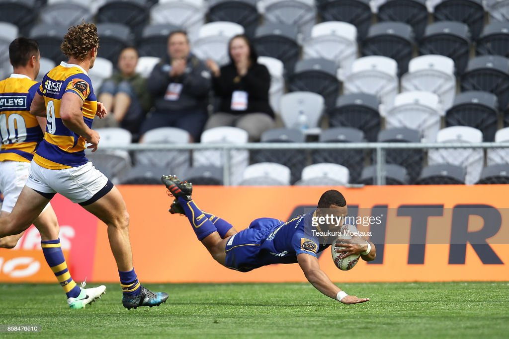 Jona Nareki of Otago scores a try during the round eight Mitre 10 cup match between Otago and Bay of Plenty at Forsyth Barr Stadium on October 7, 2017 in Dunedin, New Zealand.