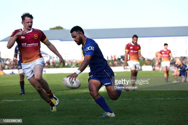 Jona Nareki of Otago scores a try during the round five Mitre 10 Cup match between Southland and Otago at Rugby Park Stadium on September 15 2018 in...