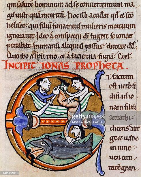 Jonah and the whale miniature from the Bible of Saint Bernard of Clairvaux manuscript France 12th Century