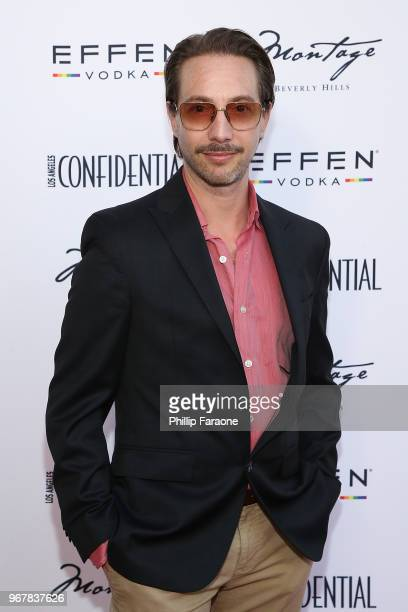 Jonah Blechman attends the Los Angeles Confidential Celebration for Portraits of Pride with GLAAD and Laverne Cox on June 4 2018 in Beverly Hills...