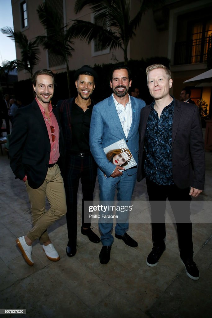 Jonah Blechman, Wilson Cruz, Chris Gialanella, and Anthony Rapp attend the Los Angeles Confidential Celebration for Portraits of Pride with GLAAD and Laverne Cox on June 4, 2018 in Beverly Hills, California.