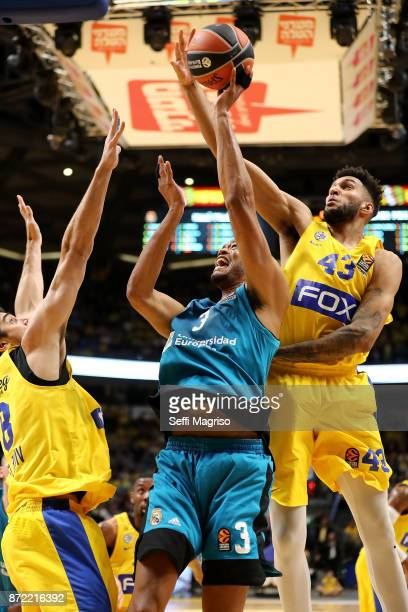 Jonah Bolden #43 of Maccabi Fox Tel Aviv competes with Anthony Randolph #3 of Real Madrid in action during the 2017/2018 Turkish Airlines EuroLeague...