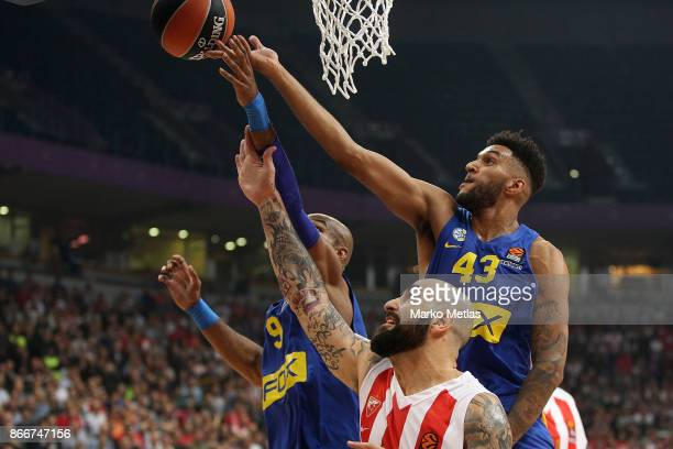 Jonah Bolden #43 of Maccabi Fox Tel Aviv competes with Pero Antic #12 of Crvena Zvezda mts Belgrade during the 2017/2018 Turkish Airlines EuroLeague...