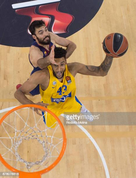 Jonah Bolden #43 of Maccabi Fox Tel Aviv competes with Pierre Oriola #18 of FC Barcelona Lassa during the 2017/2018 Turkish Airlines EuroLeague...