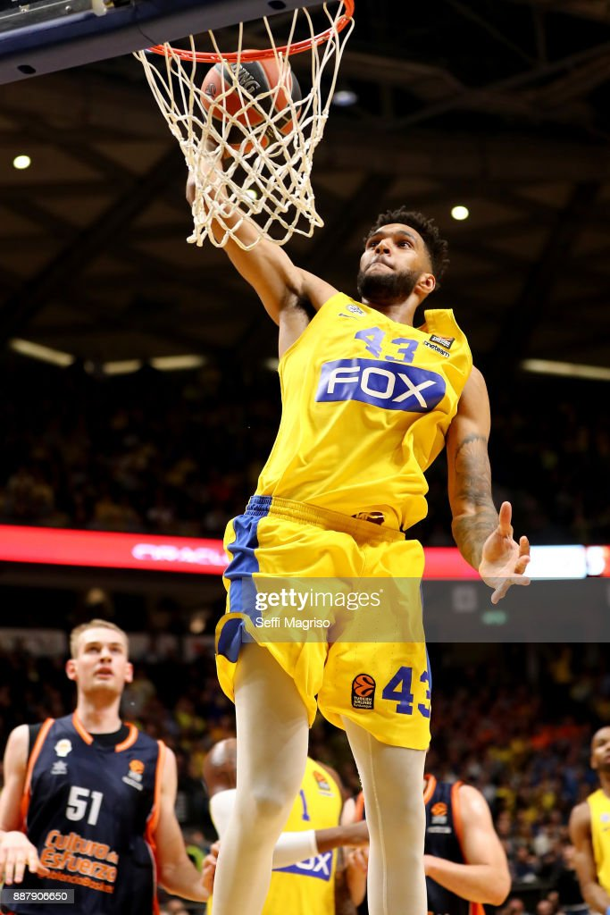 Jonah Bolden, #43 of Maccabi Fox Tel Aviv in action during the 2017/2018 Turkish Airlines EuroLeague Regular Season Round 11 game between Maccabi Fox Tel Aviv and Valencia Basket at Menora Mivtachim Arena on December 7, 2017 in Tel Aviv, Israel.