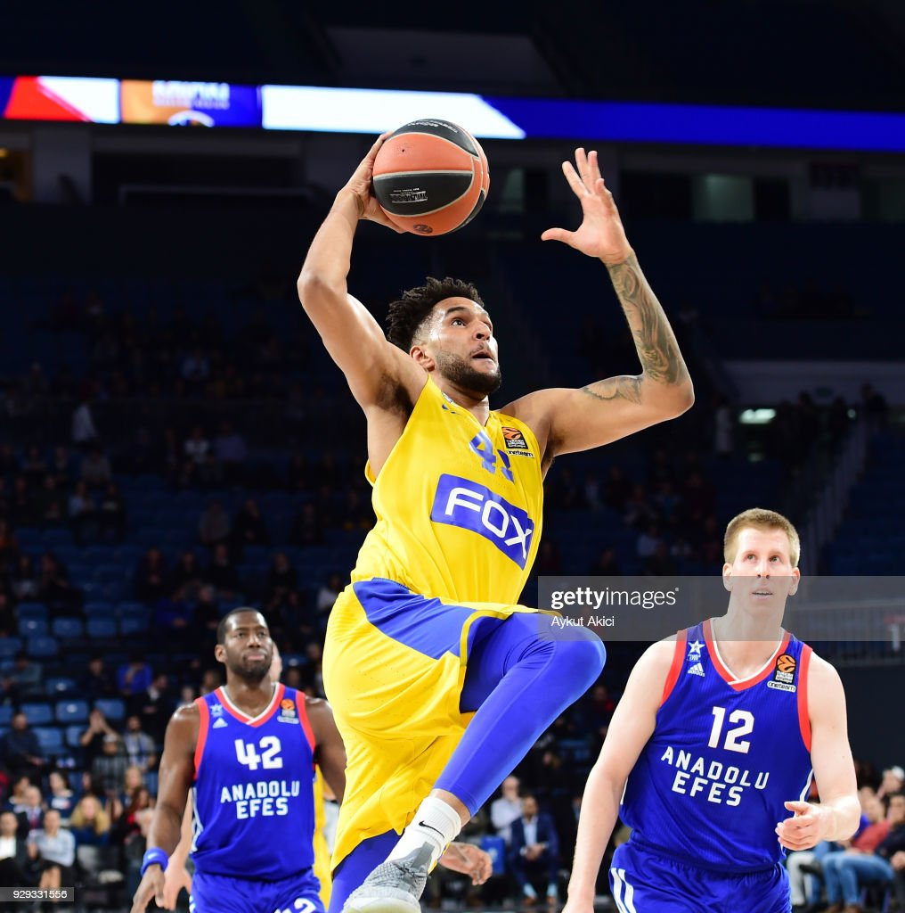 Jonah Bolden, #43 of Maccabi Fox Tel Aviv in action during the 2017/2018 Turkish Airlines EuroLeague Regular Season Round 25 game between Anadolu Efes Istanbul and Maccabi Fox Tel Aviv at Sinan Erdem Dome on March 8, 2018 in Istanbul, Turkey.