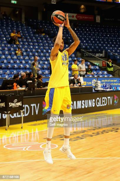 Jonah Bolden #43 of Maccabi Fox Tel Aviv warming up during the 2017/2018 Turkish Airlines EuroLeague Regular Season Round 6 game between Maccabi Fox...