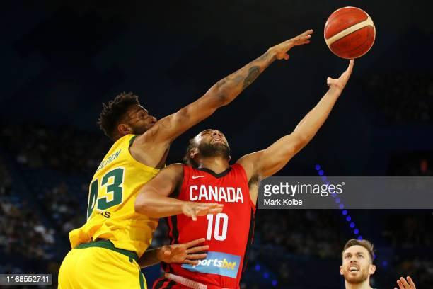 Jonah Bolden of Australia blocks the shot from Kaza Kajami-Keane of Canada during the International Basketball friendly match between the Australian...