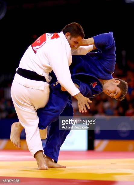 Jonah Burt of Canada in action against Robert Nicola of Cyprus during the Men's 81kg Judo Bronze medal match at SECC Precinct during day two of the...