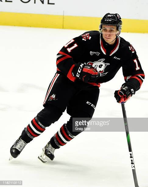 Jonah De Simone of the Niagara Icedogs skates against the Mississauga Steelheads during game action on October 18, 2019 at Paramount Fine Foods...