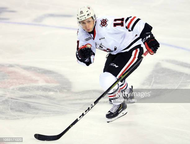Jonah De Simone of the Niagara IceDogs skates during an OHL game against the Sudbury Wolves at Meridian Centre on October 4, 2018 in St Catharines,...