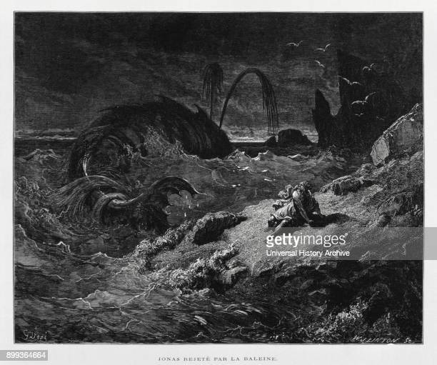 Jonah ejected onto dry land by the whale Illustration from the Dore Bible 1866 In 1866 the French artist and illustrator Gustave Doré published a...