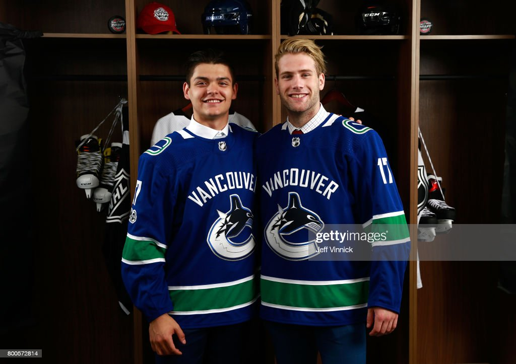 Jonah Gadjovich, 55th overall pick, (R) and Michael DiPietro, 64th overall pick, of the Vancouver Canucks pose for a portrait during the 2017 NHL Draft at United Center on June 24, 2017 in Chicago, Illinois.