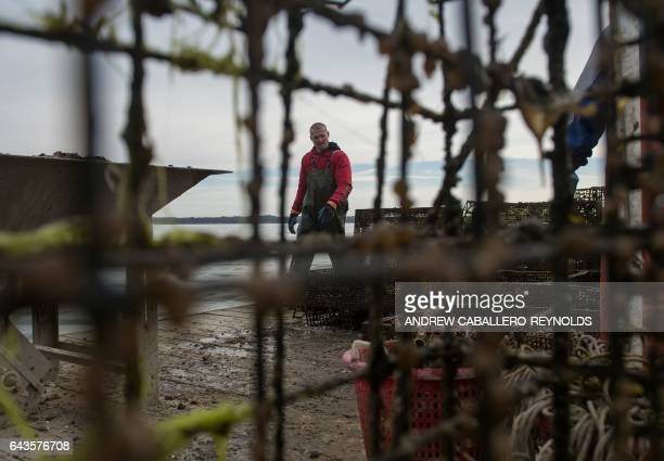 Jonah Gleason takes a break from sorting oysters on the dock at the Hollywood Oyster Company in Hollywood Maryland on February 21 2017 The Maryland...