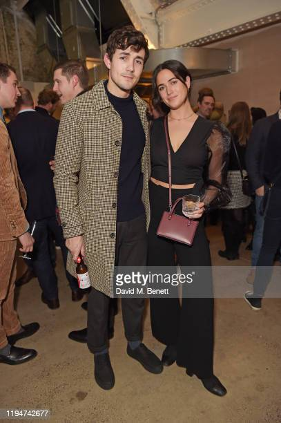 Jonah HauerKing and Margot HauerKing attend The Gentleman's Journal Christmas Drinks at Wild by Tart on December 18 2019 in London England