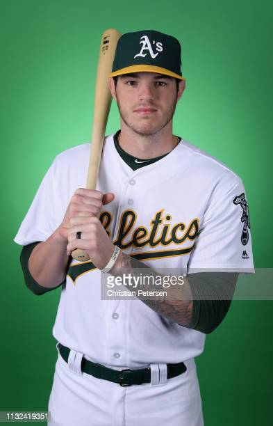 Jonah Heim of the Oakland Athletics poses for a portrait during photo day at HoHoKam Stadium on February 19 2019 in Mesa Arizona