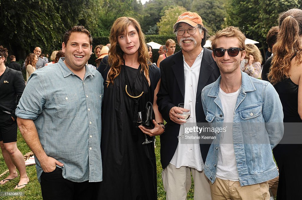 Jonah Hill, Amber Sakai, Richard Sakai and Max Winkler attend LAXART 2013 Garden Party on July 21, 2013 in Los Angeles, California.