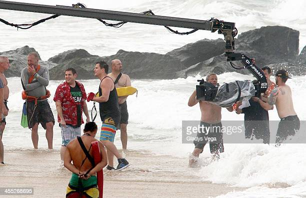 Jonah Hill and Channing Tatum are seen filming 22 Jump Street at Condado Beach on December 11 2013 in San Juan Puerto Rico