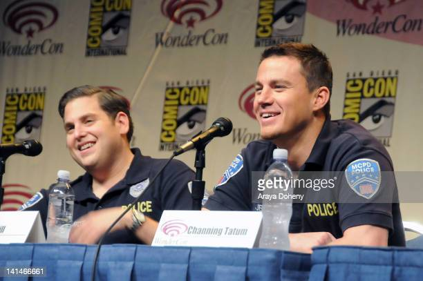 Jonah Hill and Channing Tatum attend the 21 Jump Street conference at WonderCon 2012 Day 1 at Anaheim Convention Center on March 16 2012 in Anaheim...
