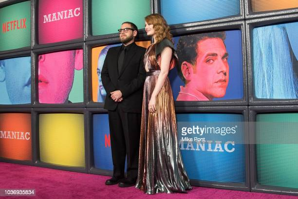 Jonah Hill and Emma Stone attend the 'Maniac' season 1 New York premiere at Center 415 on September 20 2018 in New York City