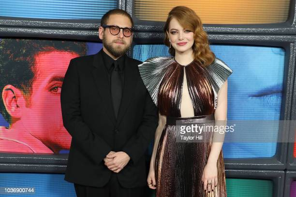 Jonah Hill and Emma Stone attend the 'Maniac' Season 1 premiere at Center 415 on September 20 2018 in New York City