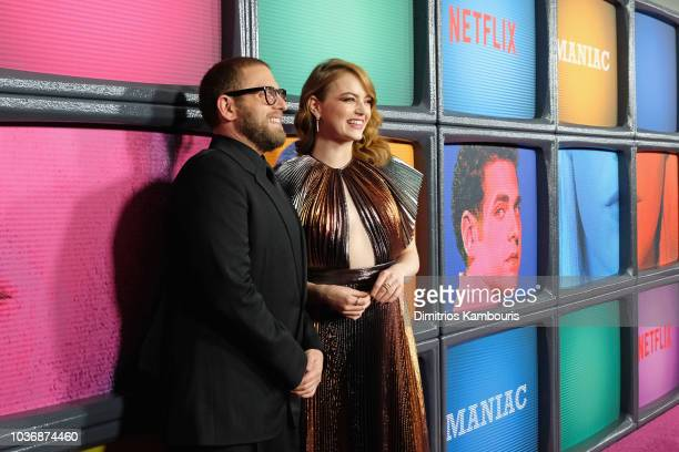 Jonah Hill and Emma Stone attend the Netflix Original Series Maniac New York Premiere Screening and After Party at Center 415 on September 20 2018 in...