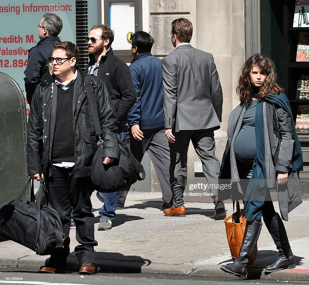 Jonah Hill and Felicity Jones filming on location for 'True Story' on March 20, 2013 in New York City.