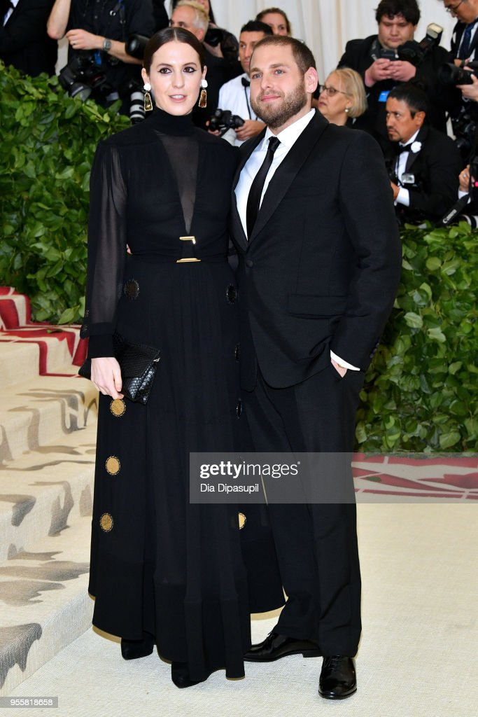 Jonah Hill (R) and guest attend the Heavenly Bodies: Fashion & The Catholic Imagination Costume Institute Gala at The Metropolitan Museum of Art on May 7, 2018 in New York City.