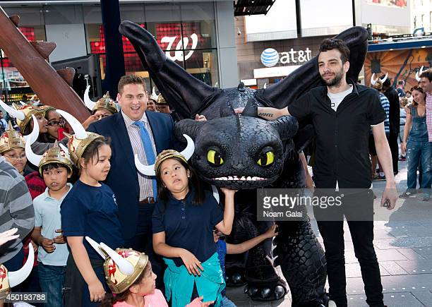Jonah Hill and Jay Baruchel attend the How To Train Your Dragon 2 Photo Call in Times Square on June 6 2014 in New York City