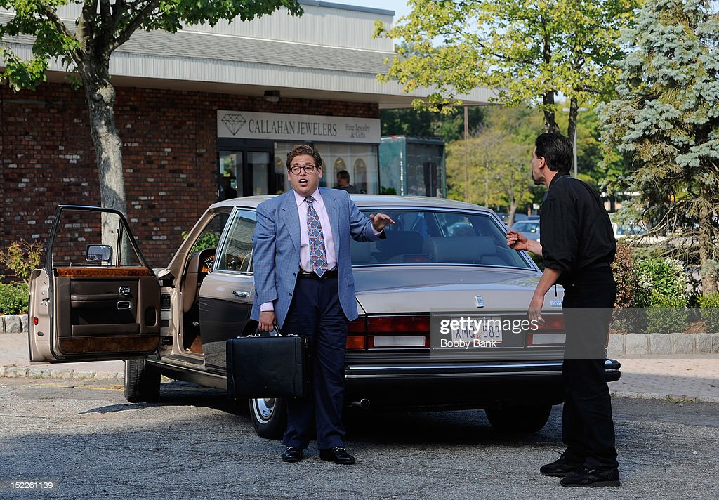 Jonah Hill and Jon Bernthal filming on location for 'The Wolf Of Wall Street' on September 17, 2012 in Emerson, New Jersey.