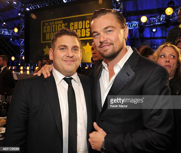 Jonah Hill and Leonardo DiCaprio attend the19th Annual Critics' Choice Movie Awards at Barker Hangar on January 16 2014 in Santa Monica California