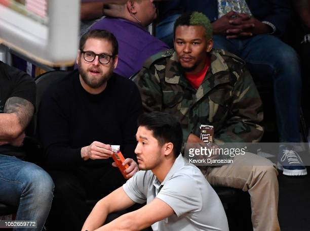 Jonah Hill and Nakel Smith attend a basketball game between the Houston Rockets and Los Angeles Lakers at Staples Center on October 20 2018 in Los...