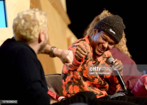 Jonah Hill and Nakel Smith speak onstage at GQ Live The World Of Jonah Hill With The Cast Of 'Mid90s' at NeueHouse Los Angeles on December 07 2018 in...