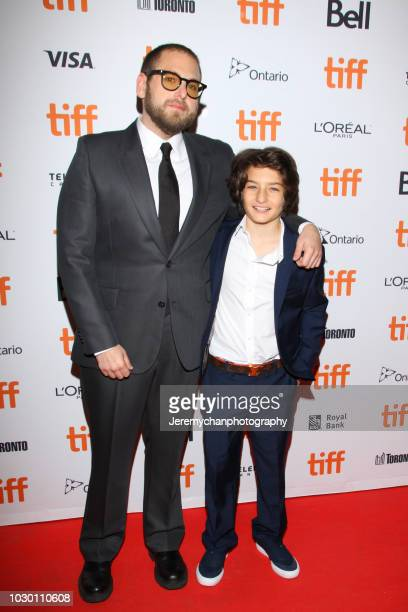 Jonah Hill and Sunny Suljic attend the 'Mid90s' Premiere during 2018 Toronto International Film Festival at Ryerson Theatre on September 9 2018 in...