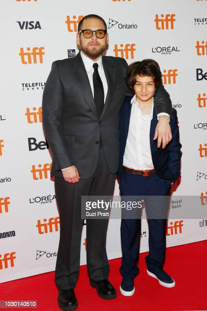 Jonah Hill and Sunny Suljic attend the Mid90s premiere during 2018 Toronto International Film Festival at Ryerson Theatre on September 9 2018 in...