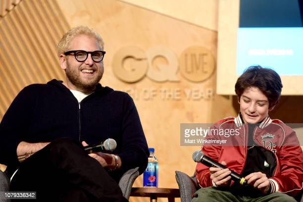 Jonah Hill and Sunny Suljic speak onstage at GQ Live The World Of Jonah Hill With The Cast Of 'Mid90s' at NeueHouse Los Angeles on December 07 2018...