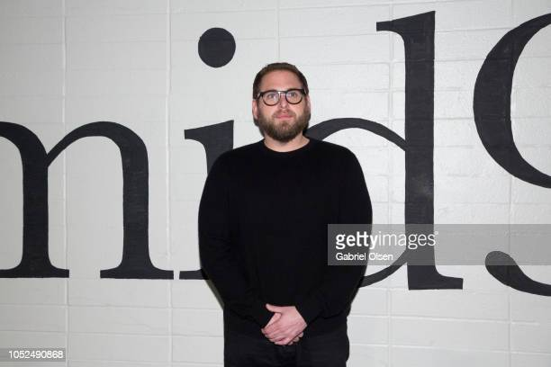 Jonah Hill arrives for the premiere of A24's 'Mid90s' at West LA Courthouse on October 18 2018 in Los Angeles California