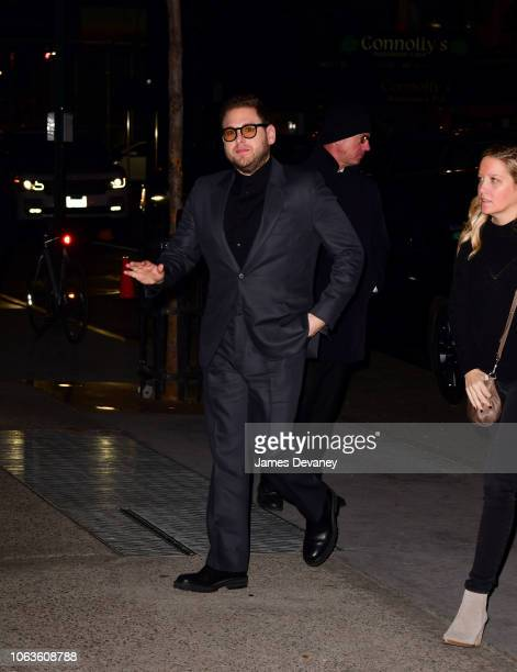Jonah Hill arrives to the 2018 Museum of Modern Art Film Benefit A Tribute To Martin Scorsese at Museum of Modern Art on November 19 2018 in New York...