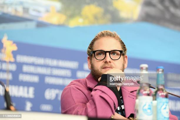 "Jonah Hill attends the ""Mid 90's"" press conference during the 69th Berlinale International Film Festival Berlin at Grand Hyatt Hotel on February 10,..."