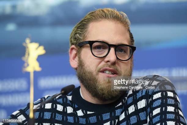 Jonah Hill attends the Mid 90's press conference during the 69th Berlinale International Film Festival Berlin at Grand Hyatt Hotel on February 10...