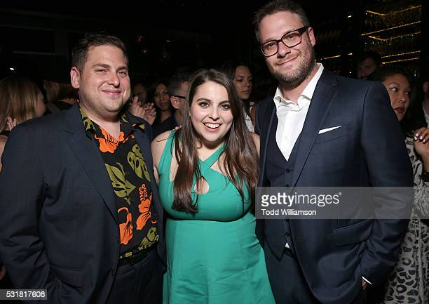 Jonah Hill Beanie Feldstein and Seth Rogen attend the after party for the premiere of Universal Pictures' 'Neighbors 2 Sorority Rising' on May 16...