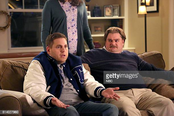 LIVE Jonah Hill Episode 1697 Pictured Jonah Hill as Nate and Bobby Moynihan during The Champ sketch on March 5 2016