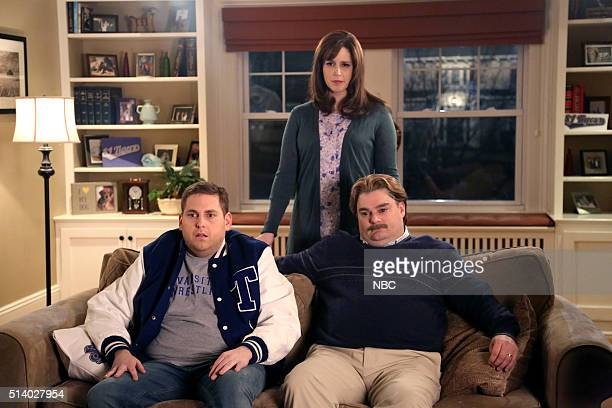 LIVE Jonah Hill Episode 1697 Pictured Jonah Hill as Nate Vanessa Bayer and Bobby Moynihan during The Champ sketch on March 5 2016
