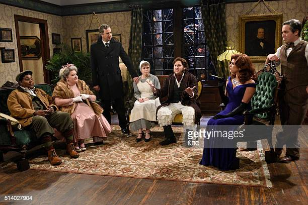 LIVE Jonah Hill Episode 1697 Pictured Kenan Thompson Aidy Bryant Taran Killam Kate McKinnon Jonah Hill Cecily Strong and Beck Bennett during the...